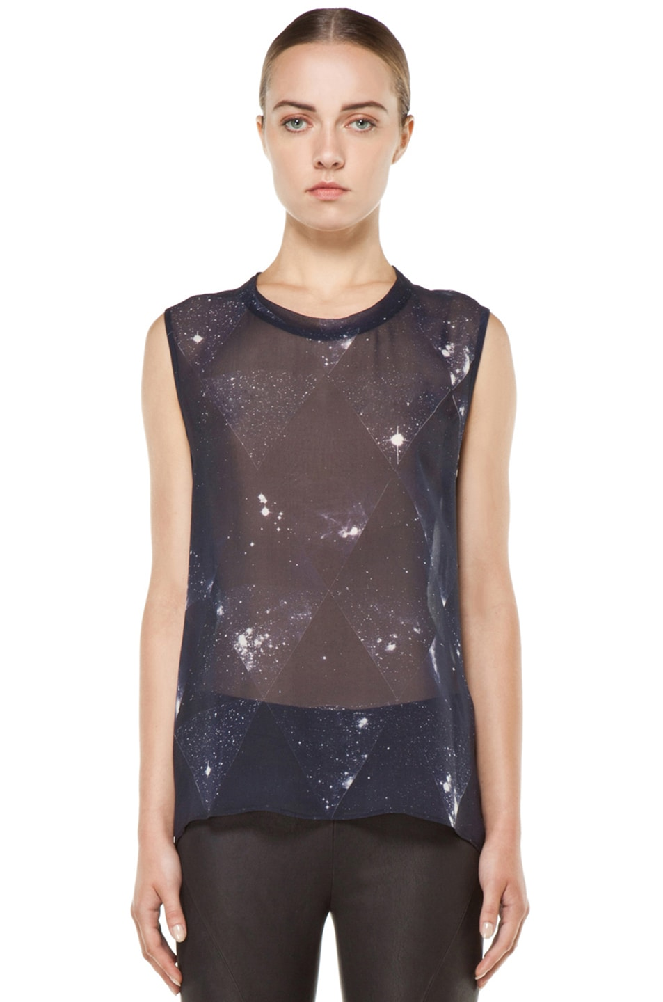 Image 1 of Tess Giberson Star Print Silk Top in Star Print