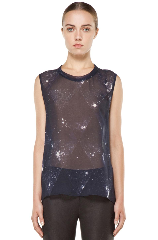 Image 1 of Tess Giberson Star Print Silk Top in Star Print