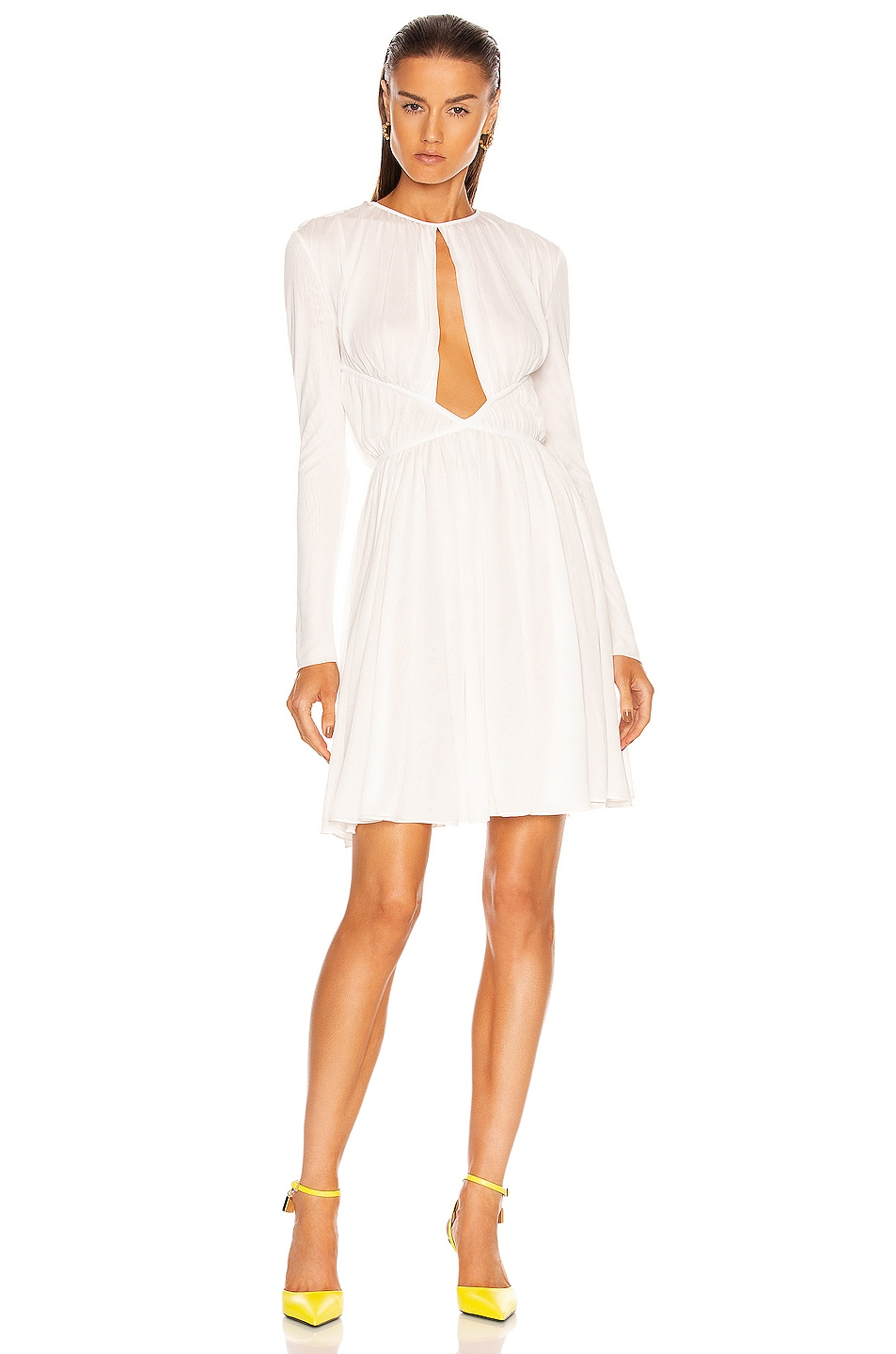 Image 1 of TOM FORD Transparent Ruched Mini Dress in Chalk
