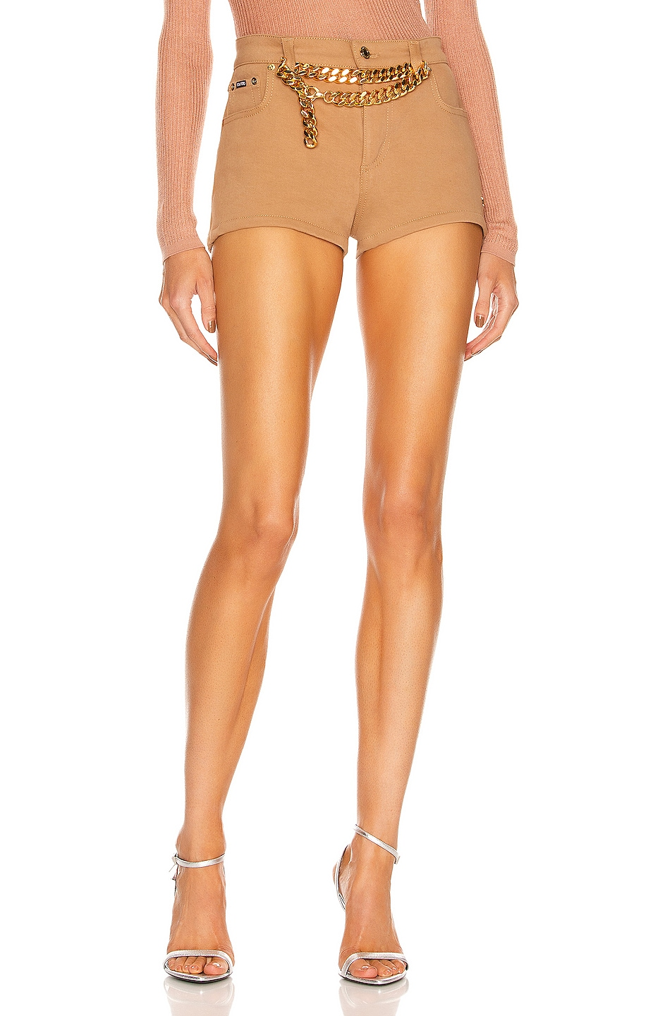 Image 1 of TOM FORD Twill Mini Short in Honey Nude