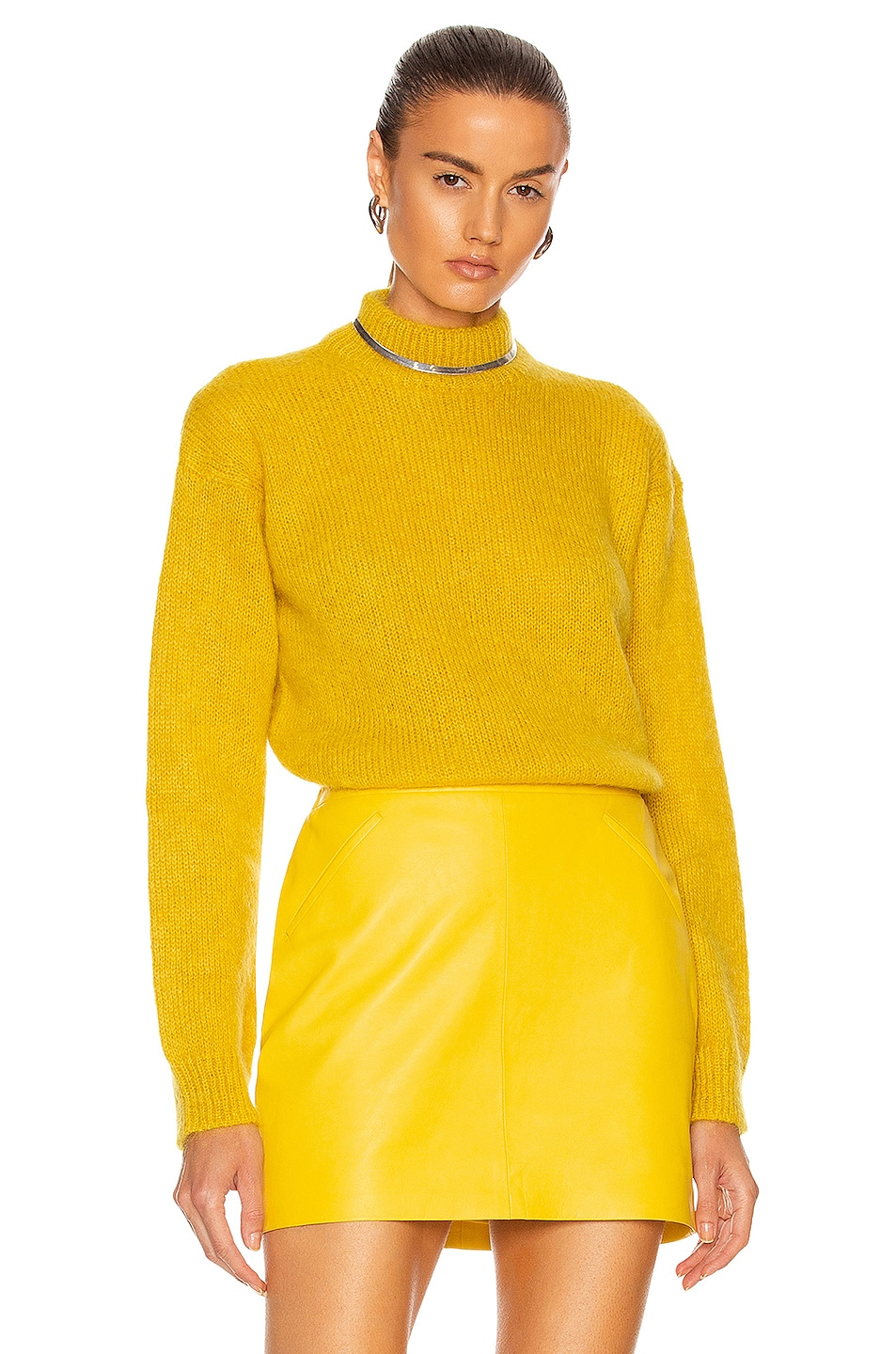 Image 1 of TOM FORD Brushed Mohair Mock Neck Sweater in Mustard