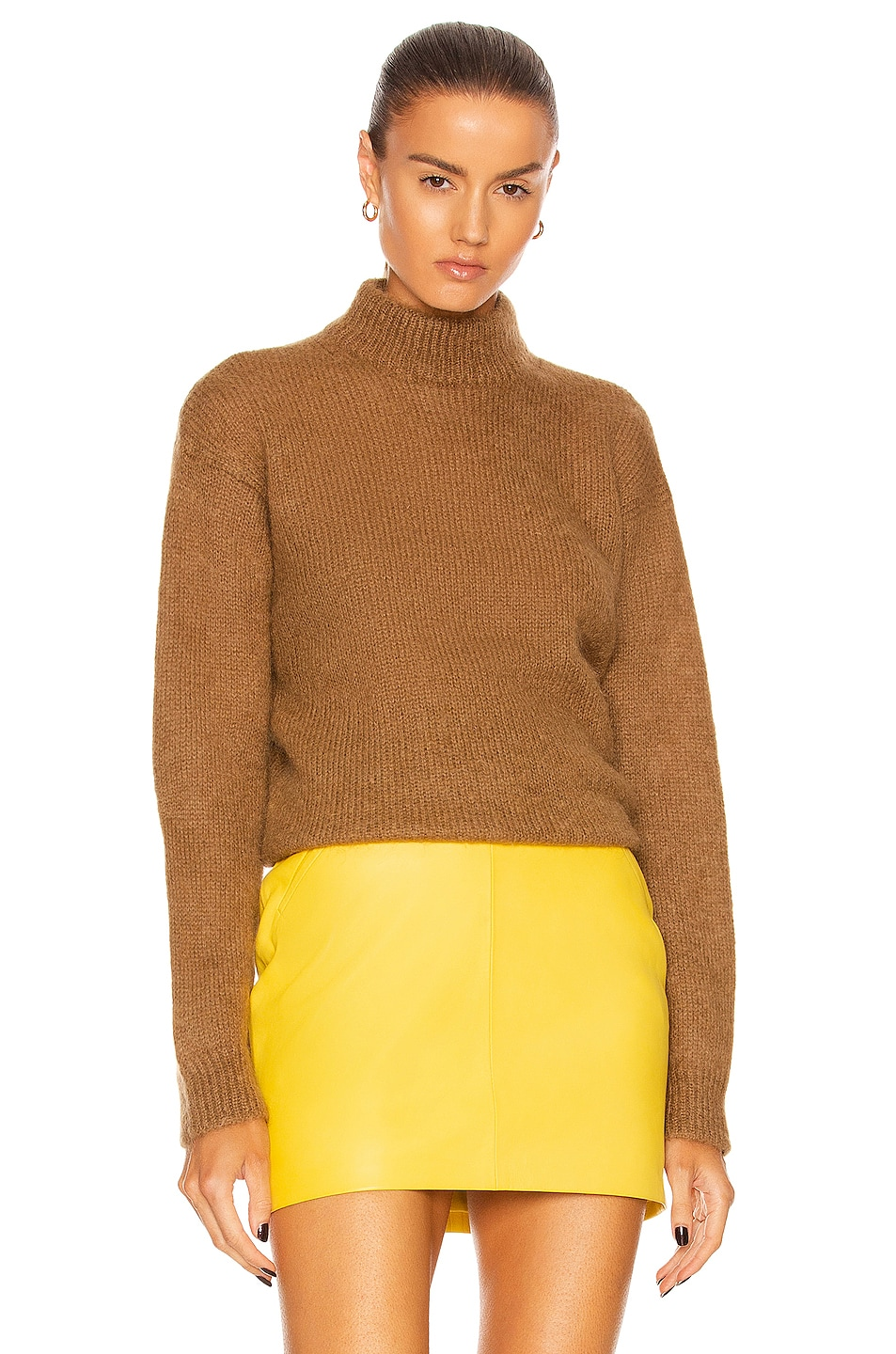 Image 1 of TOM FORD Brushed Mohair Mock Neck Sweater in Honey Nude