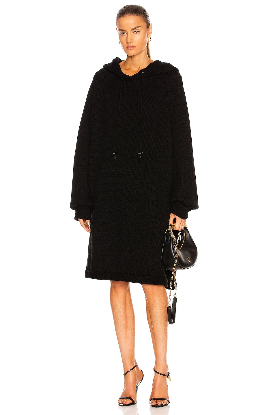 Image 1 of TOM FORD Cashmere Front Pocket Oversized Hoodie in Black