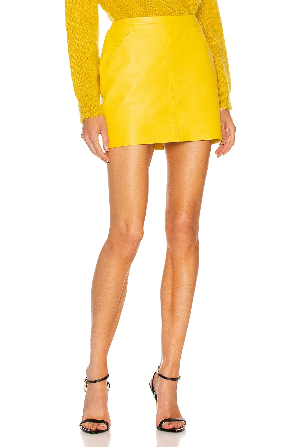 Image 1 of TOM FORD Slanted Leather Pocket Mini Skirt in Bright Yellow