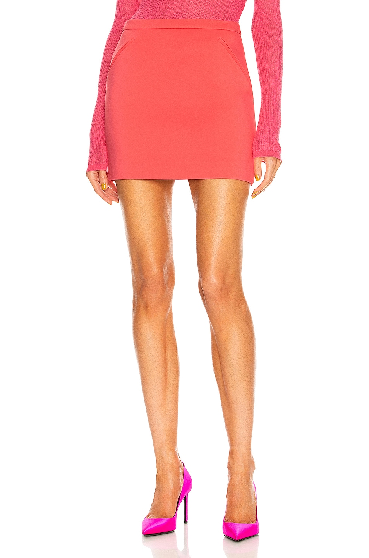Image 1 of TOM FORD Slanted Pocket Mini Skirt in Fluo Coral
