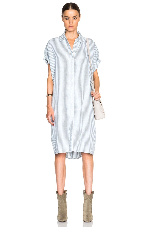 Image 1 of The Great Camper Shirt Dress in Blue Mattress Stripe