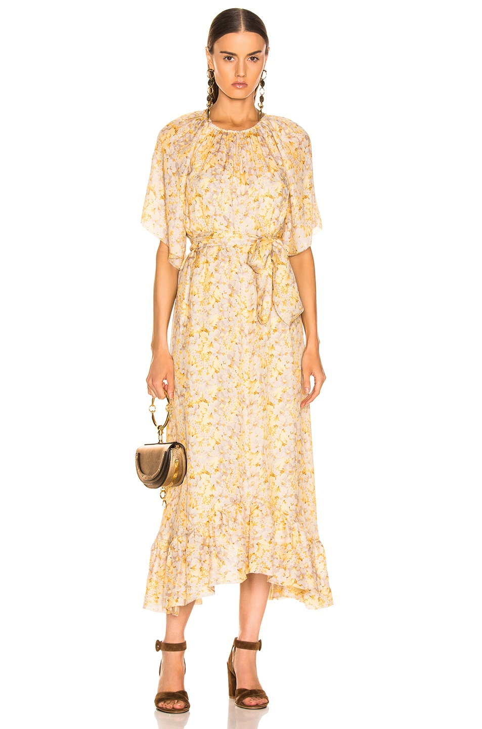 Image 1 of The Great Flutter Sleeve Dress With Belt in Buttercup Floral
