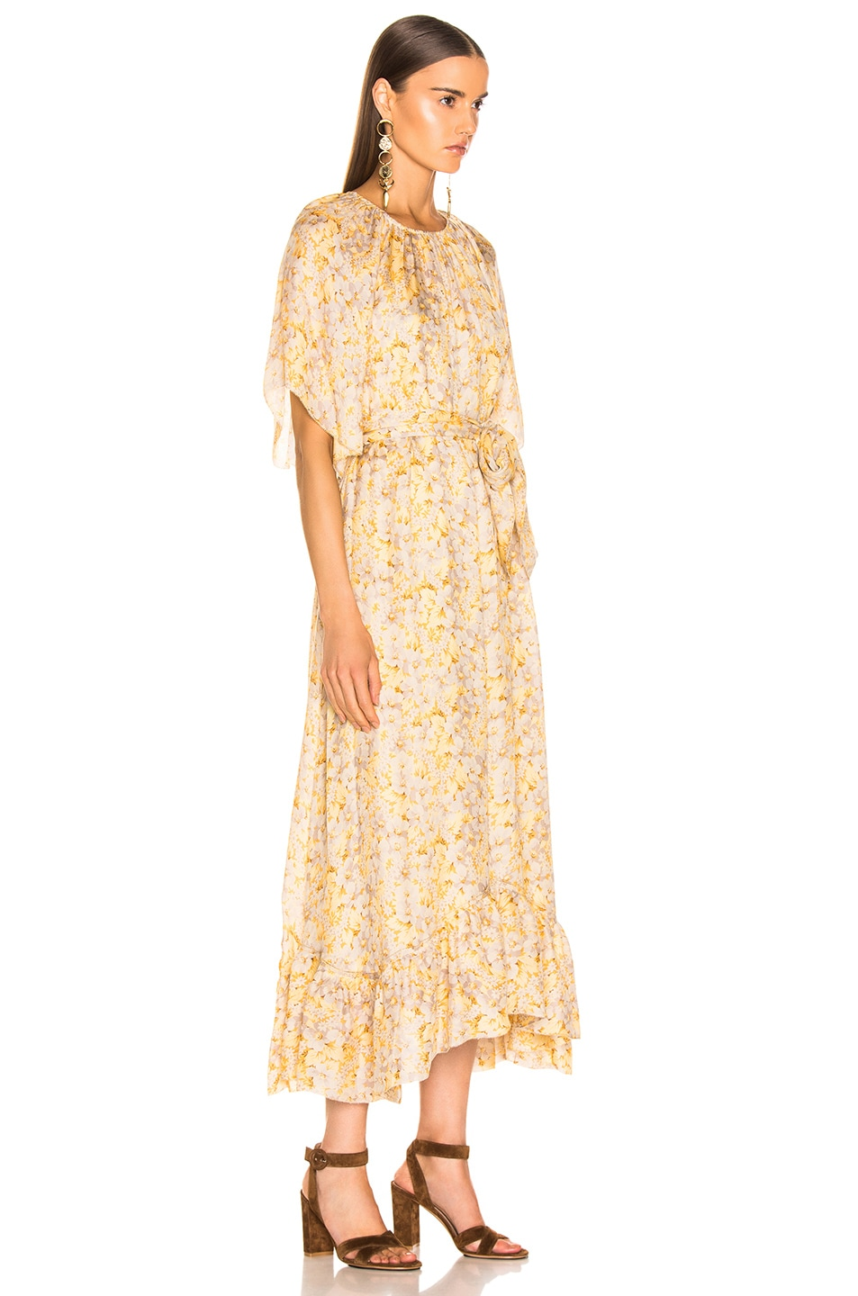 Image 2 of The Great Flutter Sleeve Dress With Belt in Buttercup Floral