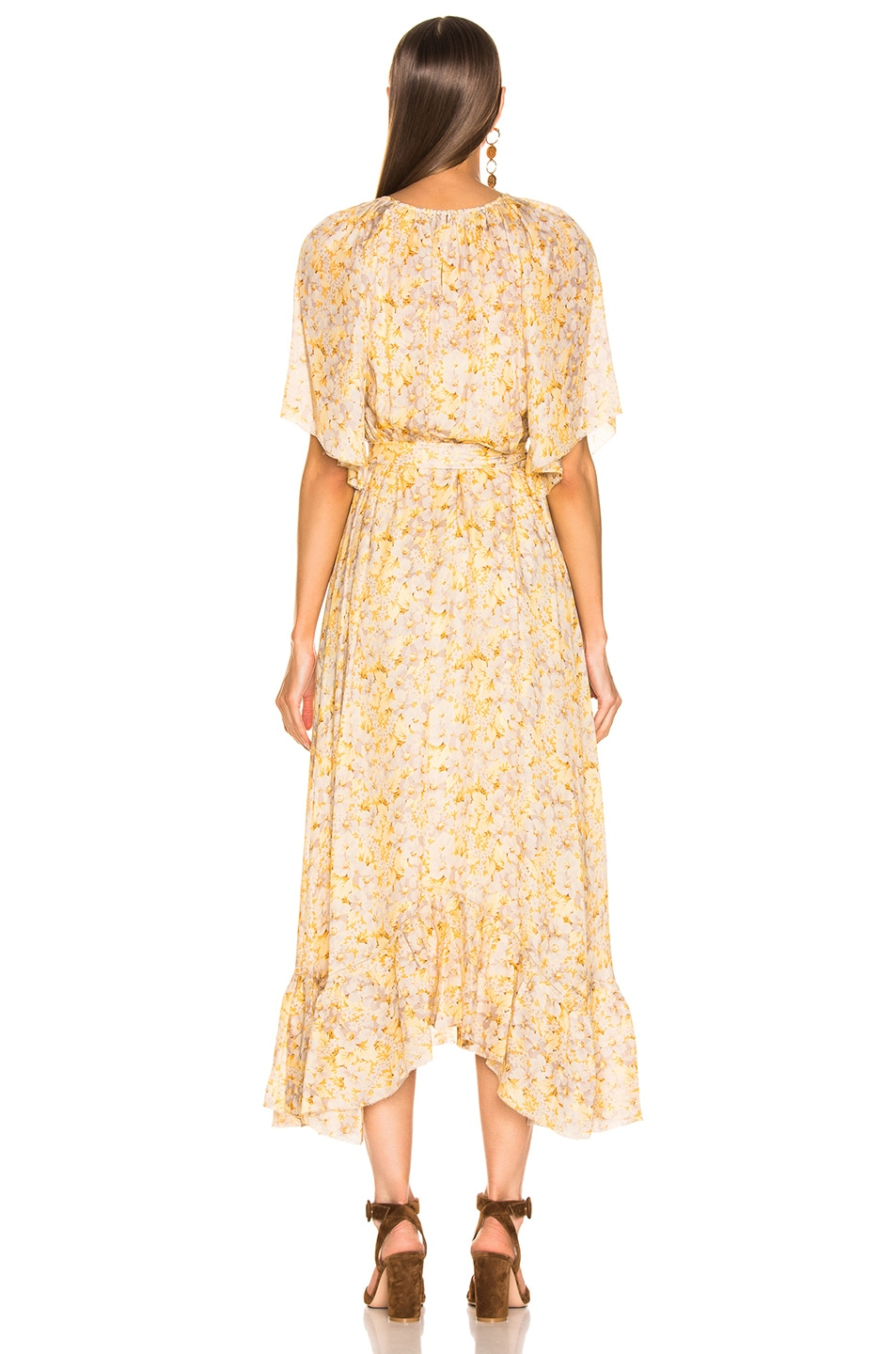 Image 3 of The Great Flutter Sleeve Dress With Belt in Buttercup Floral
