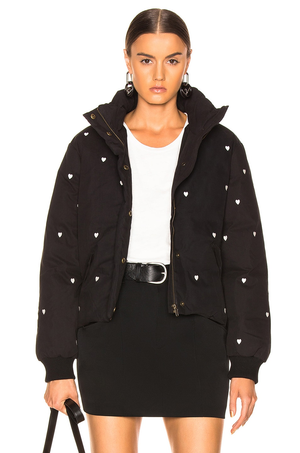 8a383a446af11 The Great Puffer Coat in Black With White Heart Embroidery | FWRD
