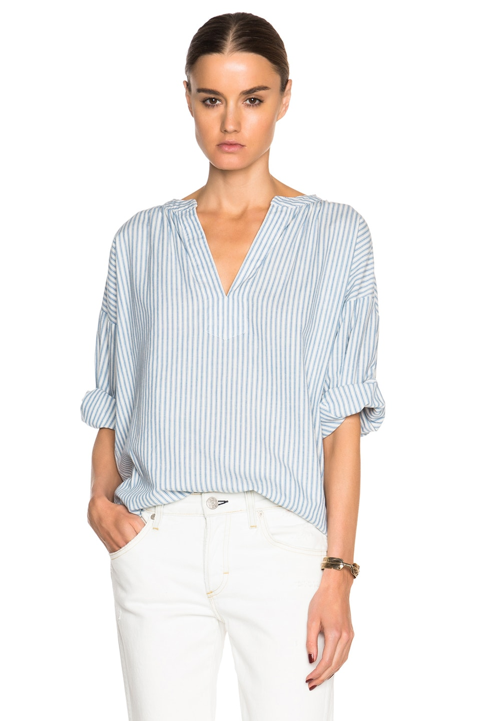 Image 1 of The Great Easy Tunic Top in Blue Mattress Stripe