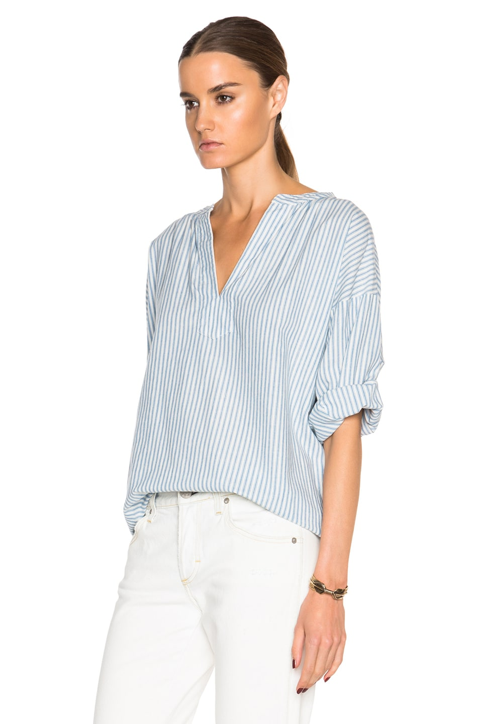 Image 2 of The Great Easy Tunic Top in Blue Mattress Stripe