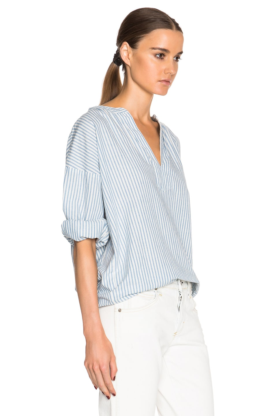 Image 3 of The Great Easy Tunic Top in Blue Mattress Stripe