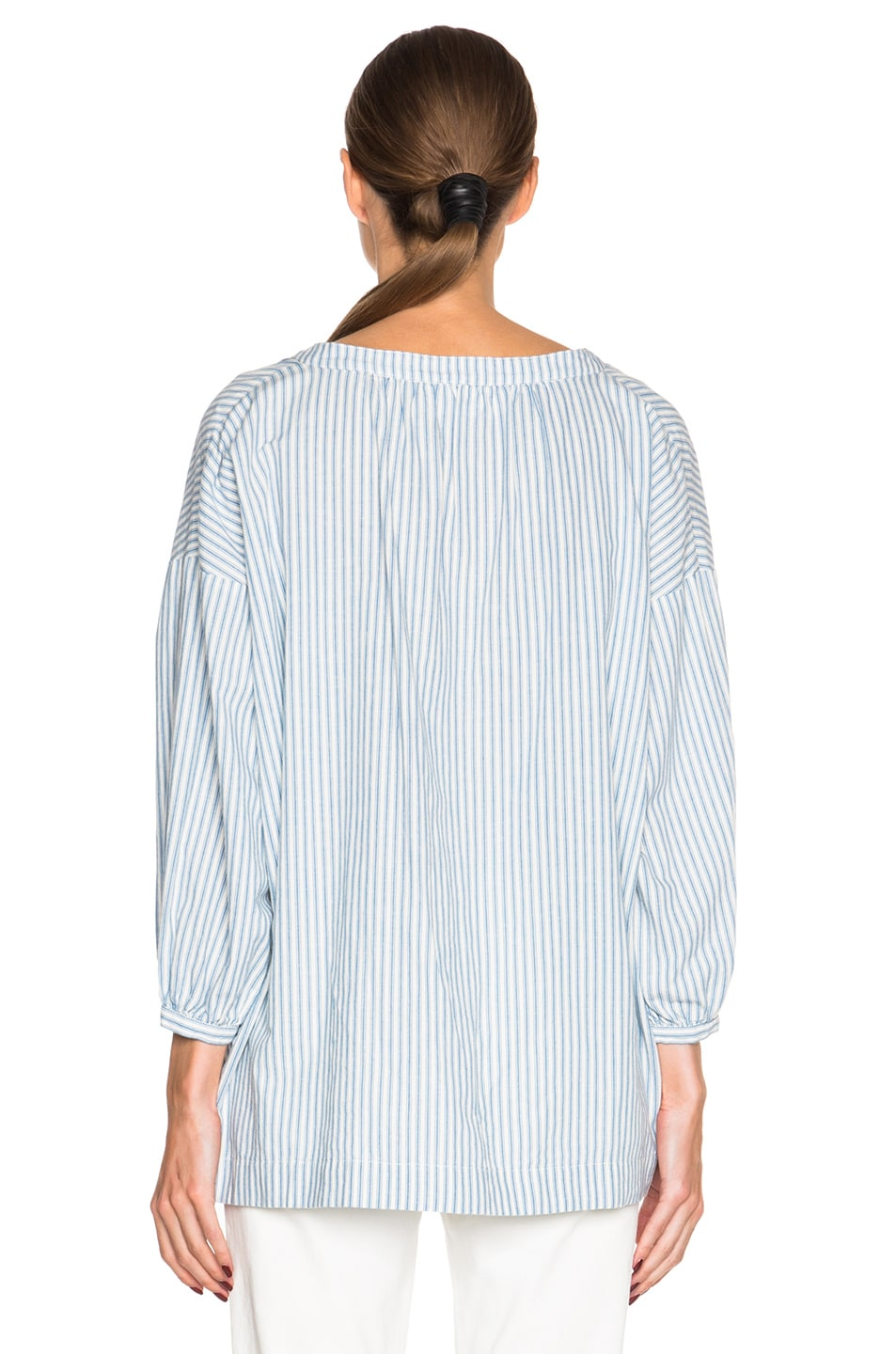 Image 4 of The Great Easy Tunic Top in Blue Mattress Stripe