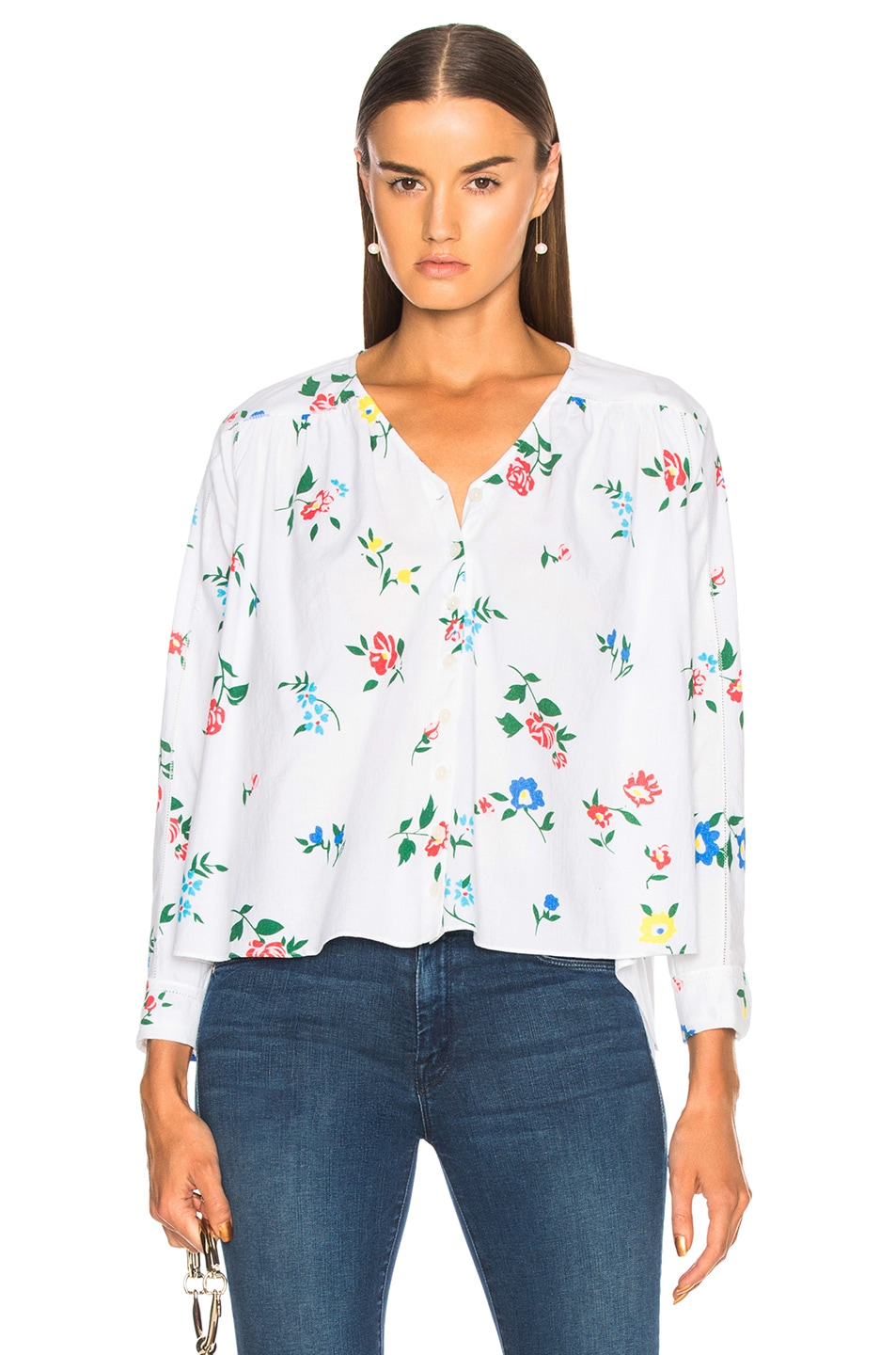 The Great Boutonniere Top in Floral,White