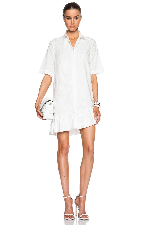 0060f345613 Image 1 of Thakoon Addition Ruffle Hem Shirt Dress in White