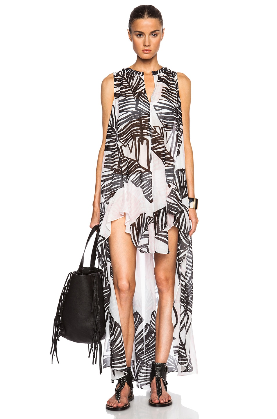 Image 1 of Thakoon Addition Sleeveless Long Caftan in Black & Pink