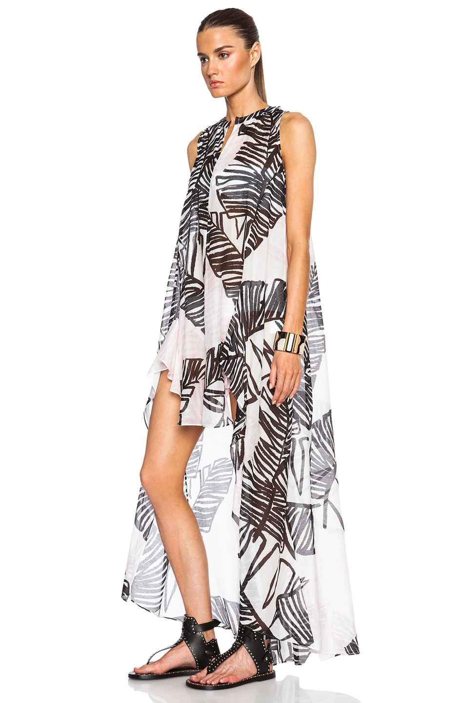 Image 2 of Thakoon Addition Sleeveless Long Caftan in Black & Pink