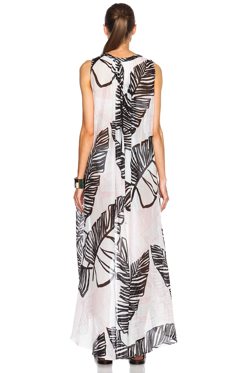 Image 4 of Thakoon Addition Sleeveless Long Caftan in Black & Pink