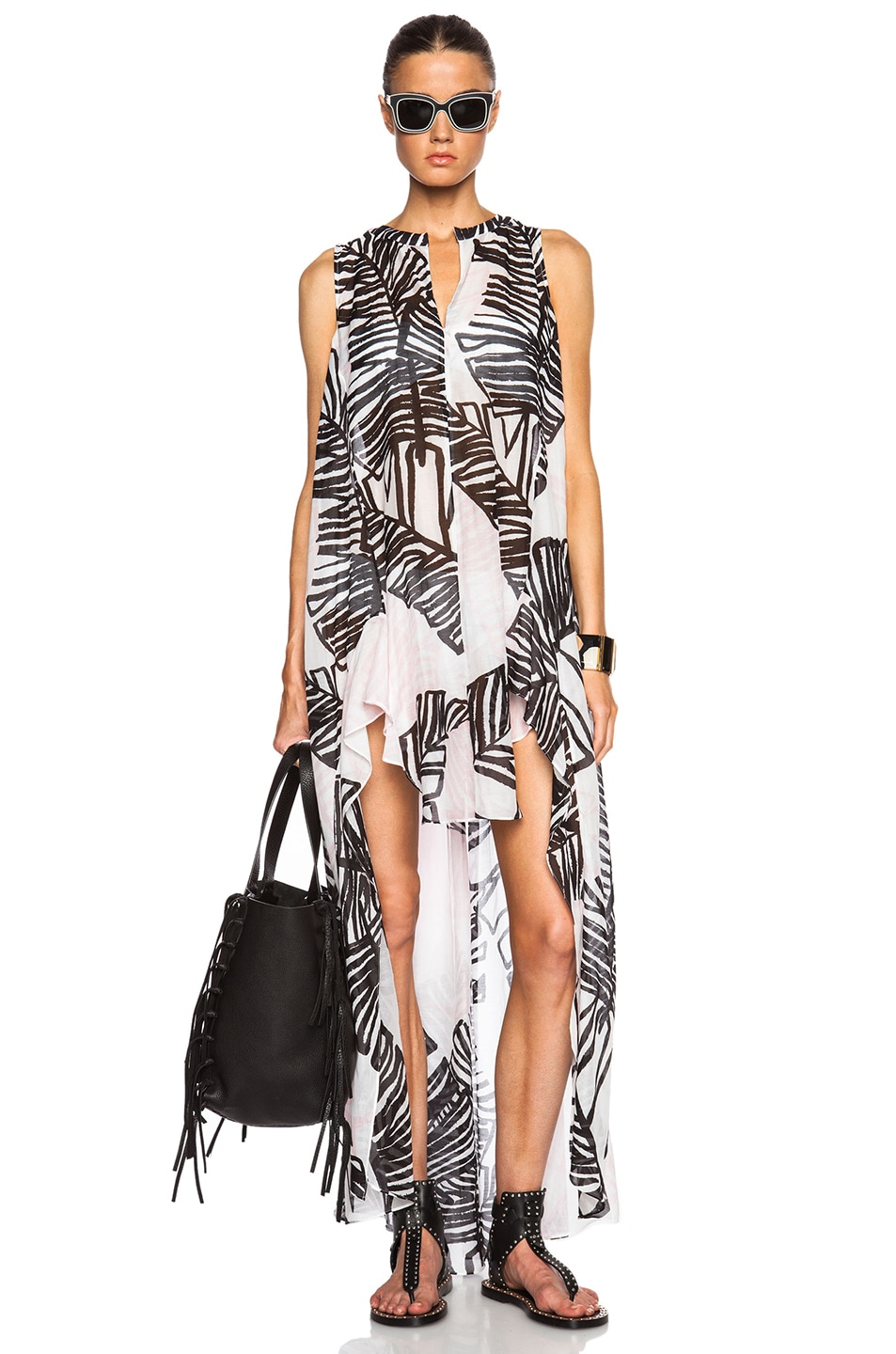 Image 5 of Thakoon Addition Sleeveless Long Caftan in Black & Pink