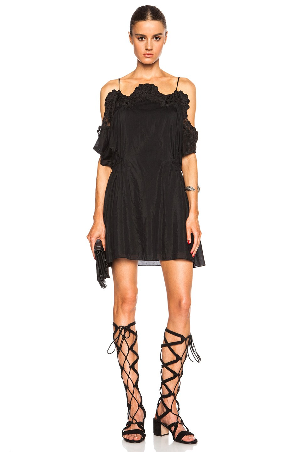 Image 1 Of Thakoon Addition Crochet Border Dress In Black