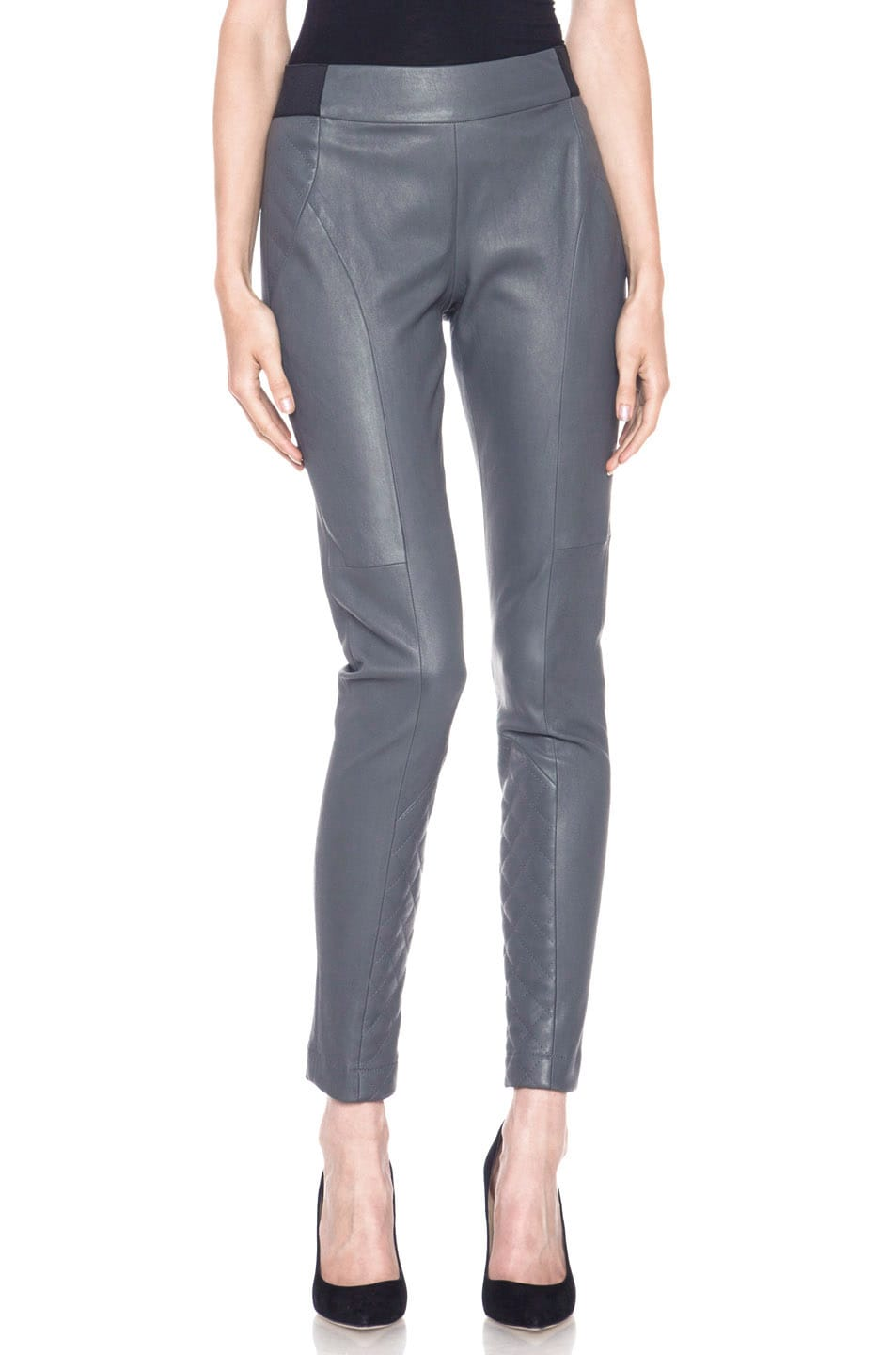Image 1 of Thakoon Addition Lambskin Leather Legging in Grey
