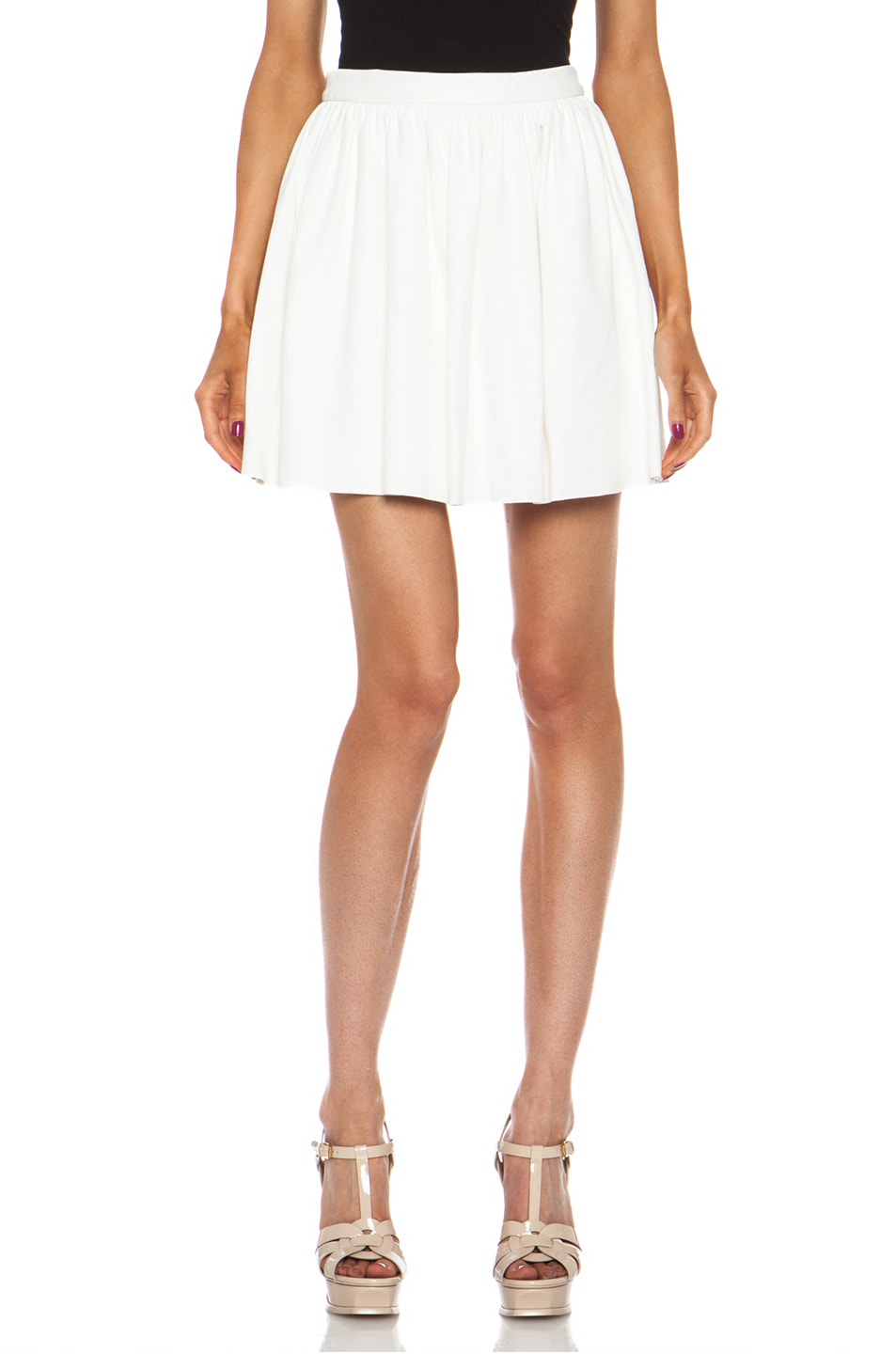 Image 1 of Thakoon Addition Pleated Lambskin Leather Full Skirt in White