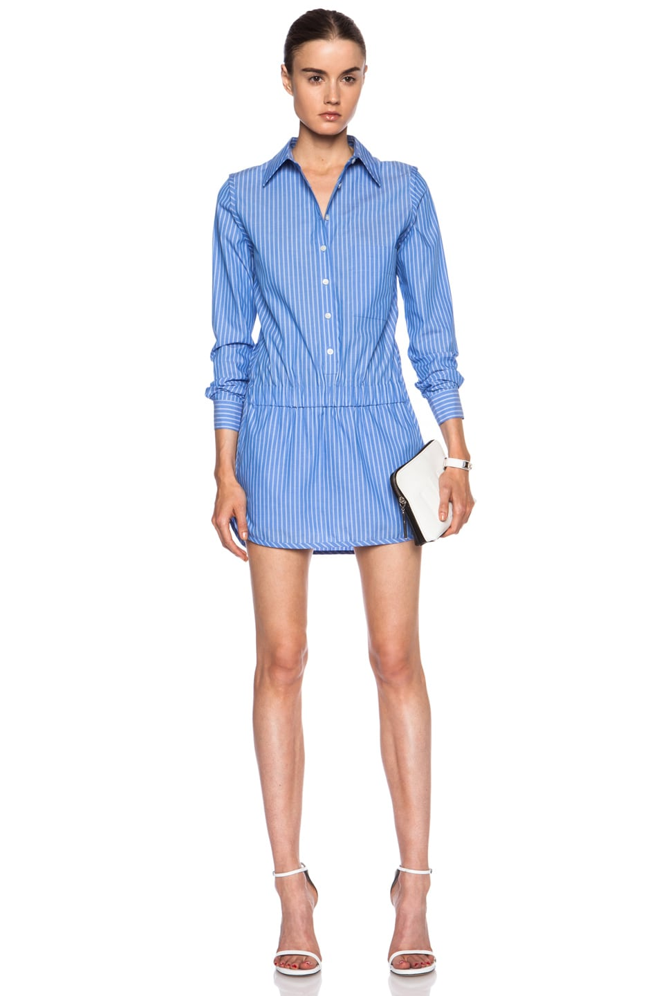 f15ef27b9ed1 Image 1 of Thakoon Addition Button Front Cotton Romper in Blue