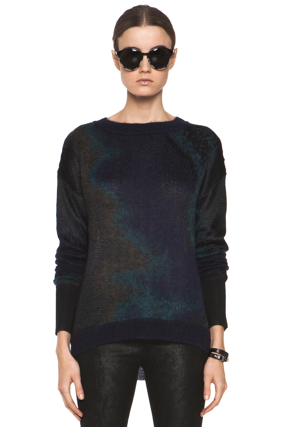 Image 1 of Theyskens' Theory Kroll Yaris Silk Sweater in Navy Multi
