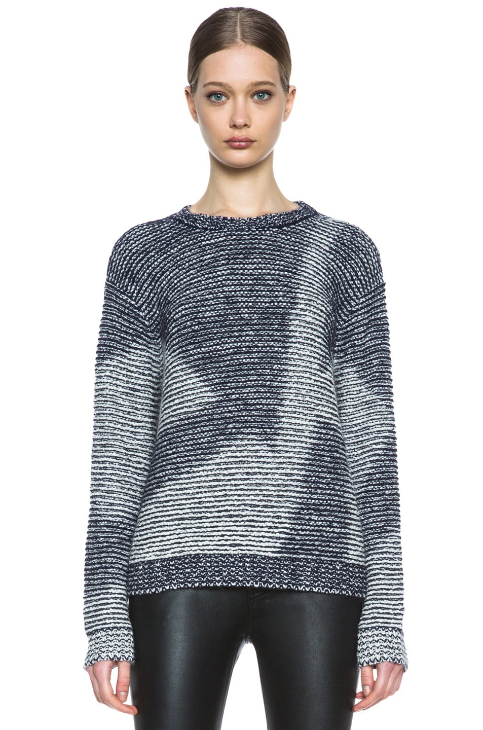 Image 1 of Theyskens' Theory Kari Silk-Blend Sweater in Navy & Creme