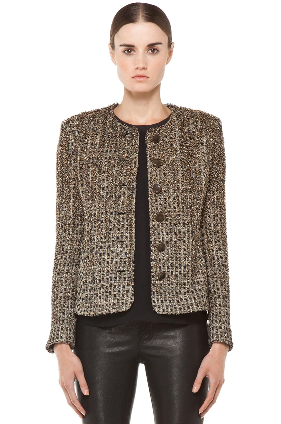 Image 1 of Theyskens' Theory Jallik Farns Embroidered Jacket in Black Gold