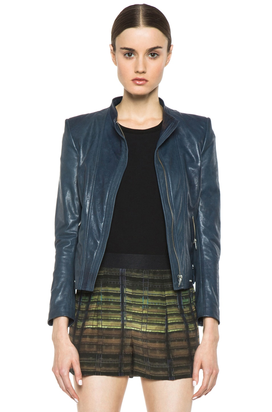 afff47e757 Image 1 of Theyskens' Theory Nomi Janner Lambskin Leather Jacket in Baltic  Teal