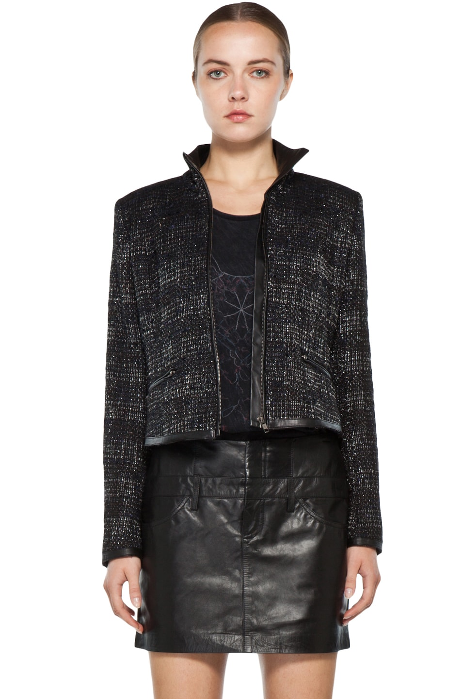 Image 1 of Theyskens' Theory Fuille Jarbon Tweed Jacket in Black Multi
