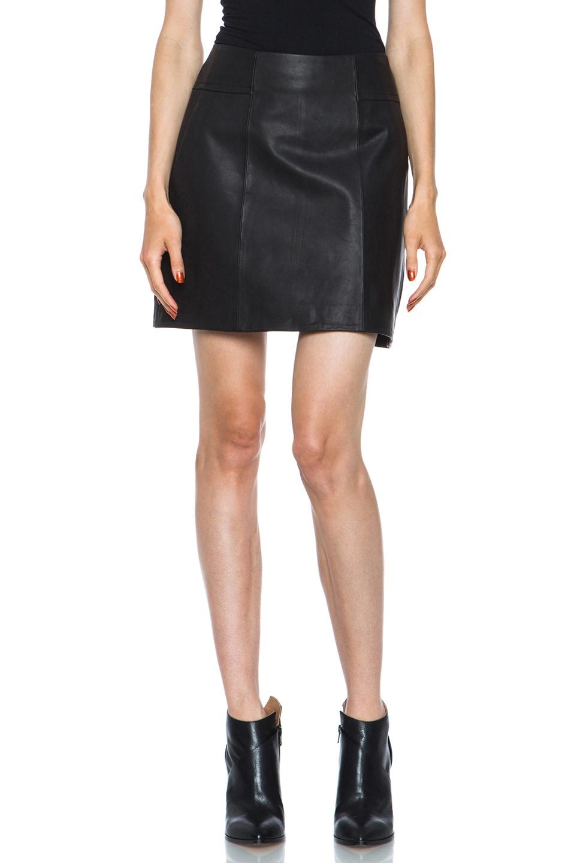 Image 1 of Theyskens' Theory Swick Calfskin Leather Skirt in Black