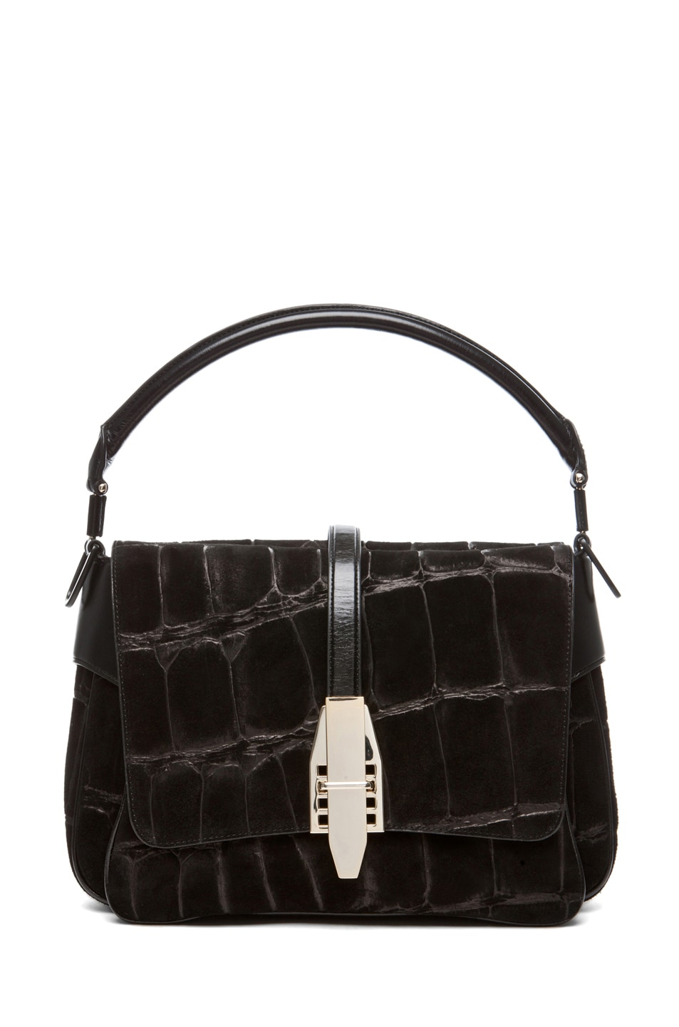 Image 1 of Theyskens' Theory Willa Abuk Embossed Croc Leather Bag in Black