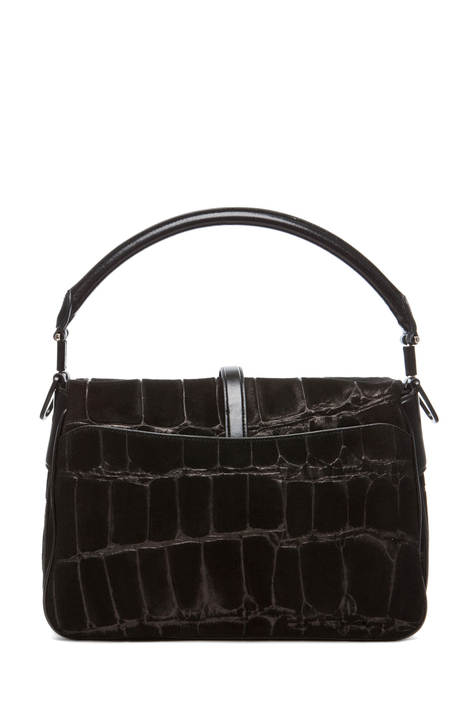 Image 2 of Theyskens' Theory Willa Abuk Embossed Croc Leather Bag in Black