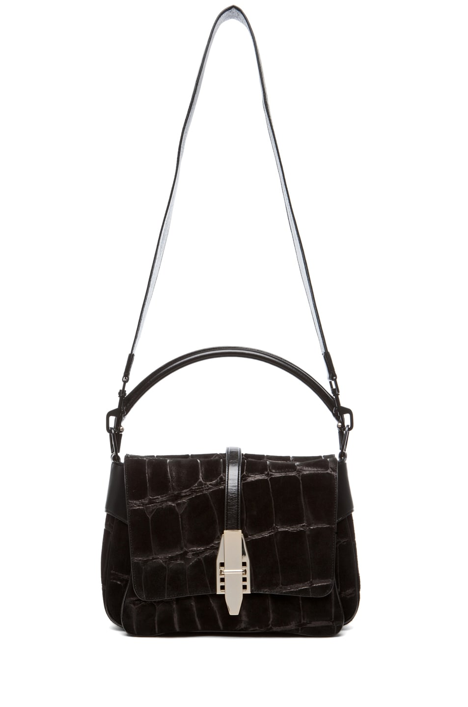 Image 5 of Theyskens' Theory Willa Abuk Embossed Croc Leather Bag in Black