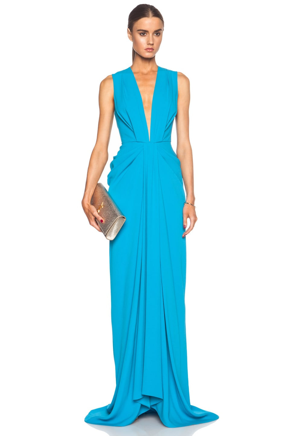 Image 1 of Thakoon V-Neck Plunge Front Viscose-Blend Gown in Turquoise