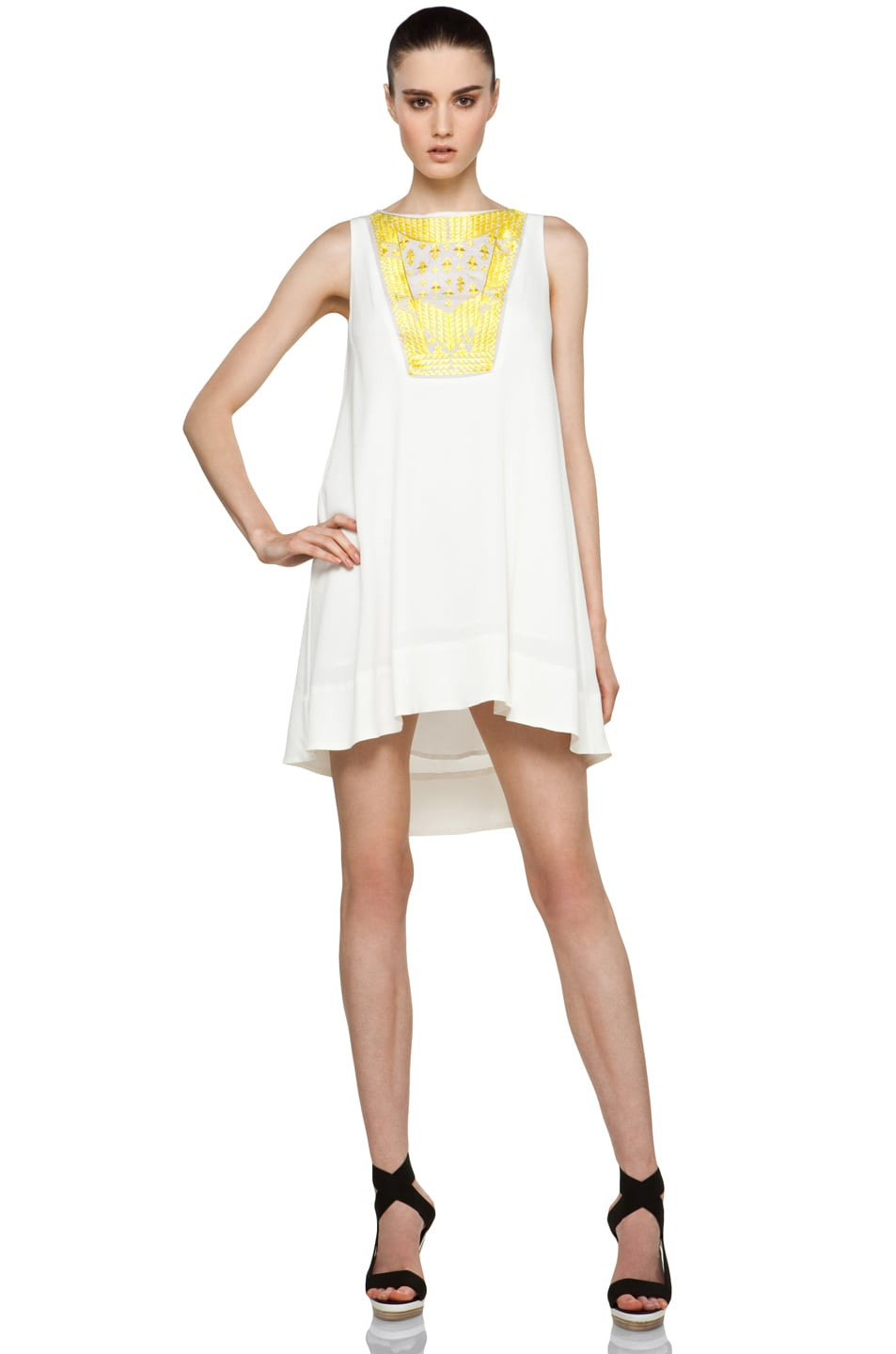 Image 1 of Thakoon Embroidered Panel Dress in White