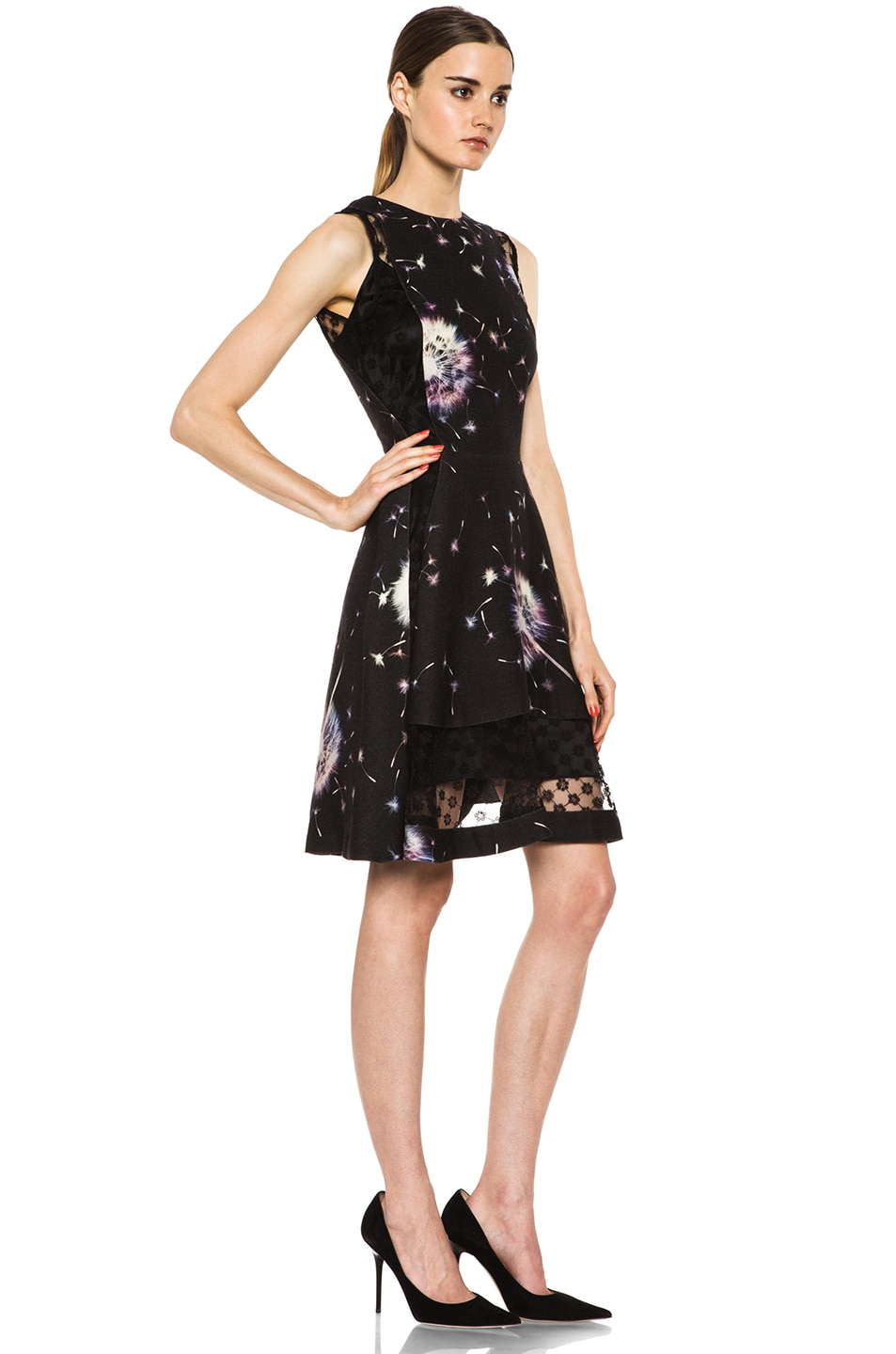 Image 3 of Thakoon Lace Inset Wool Dress in Black Multi