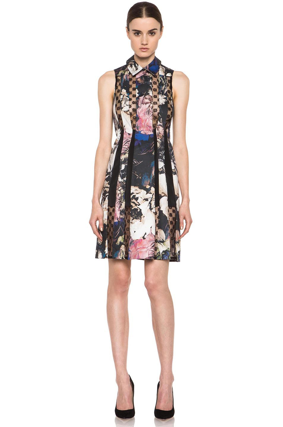 Image 1 of Thakoon Collared Lace Insert Cotton-Blend Dress in Black Multi