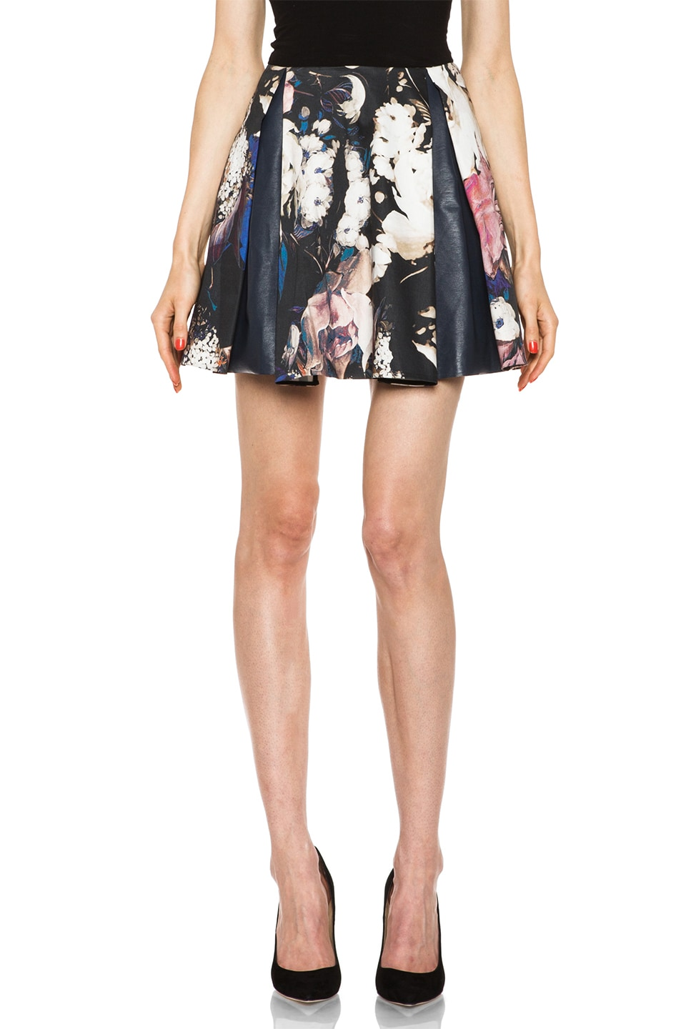 Image 1 of Thakoon Leather Combo Pleated Skirt in Black Multi