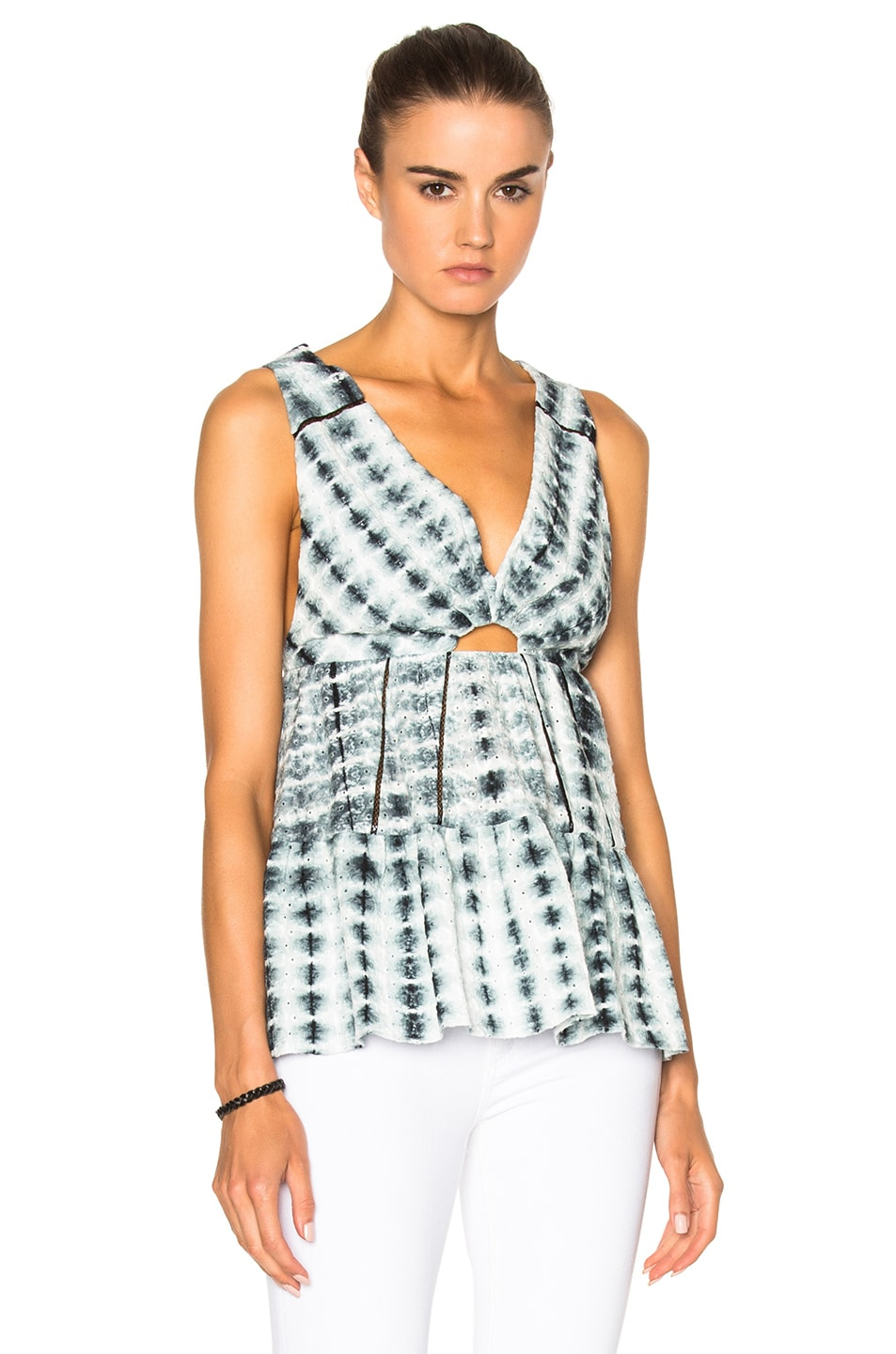 Image 1 of Thakoon Peasant Top in Black & White