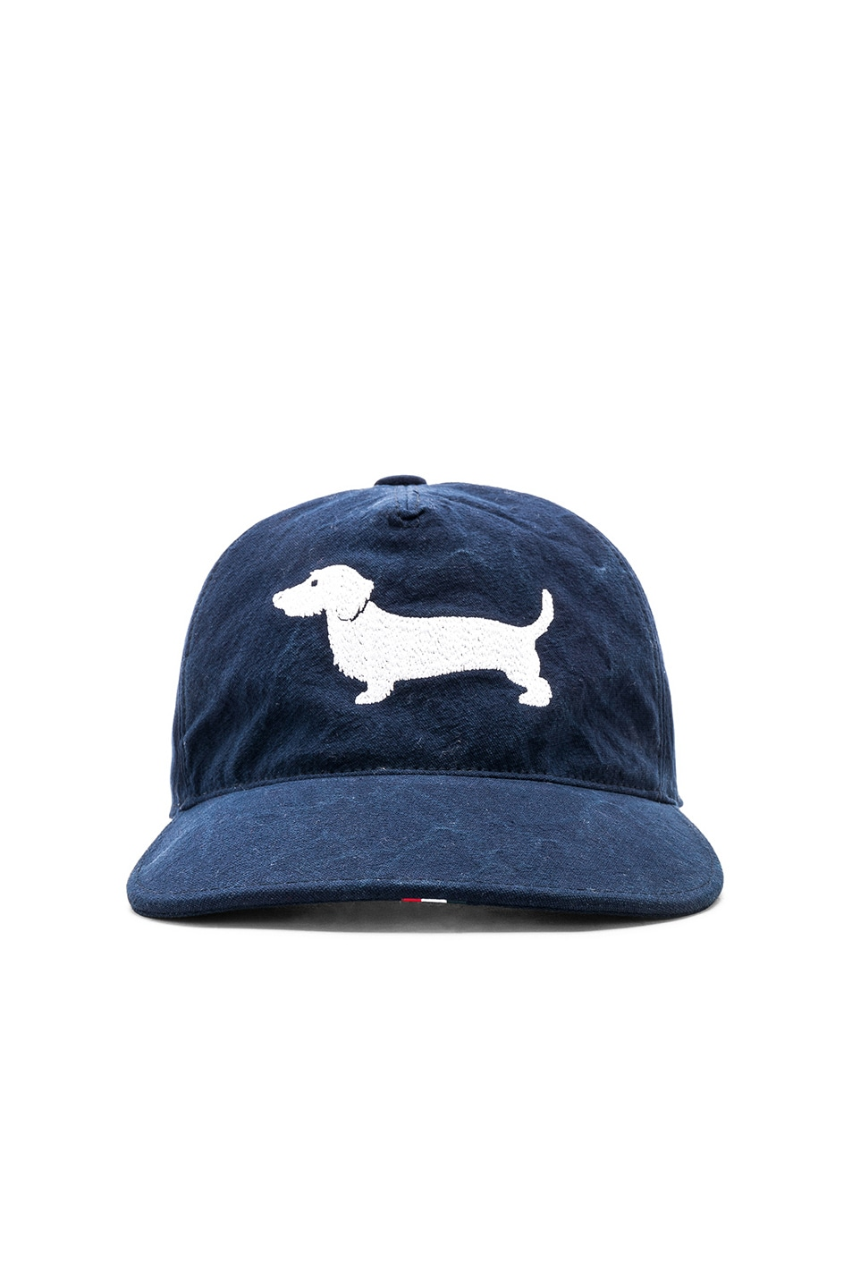Image 1 of Thom Browne Embroidered Hector 5-Panel Baseball Cap in Navy 96a6e35f3bca