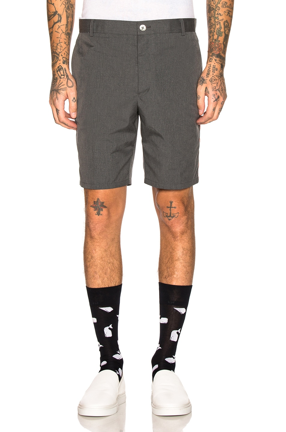 Image 2 of Thom Browne Unconstructed Shorts in Medium Grey