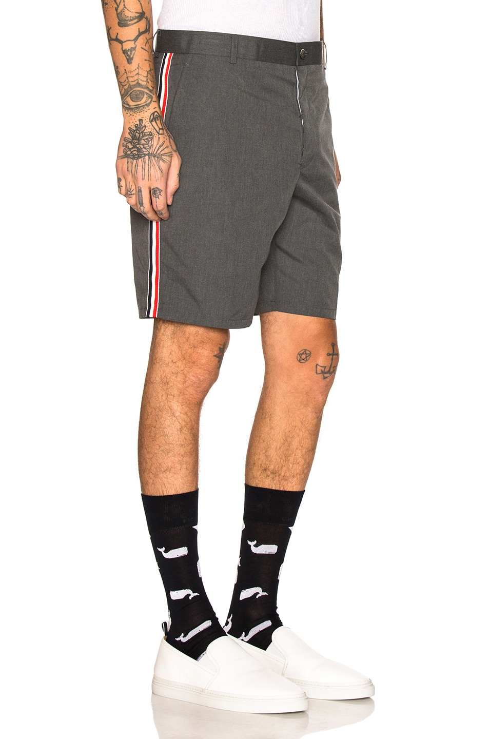 Image 3 of Thom Browne Unconstructed Shorts in Medium Grey