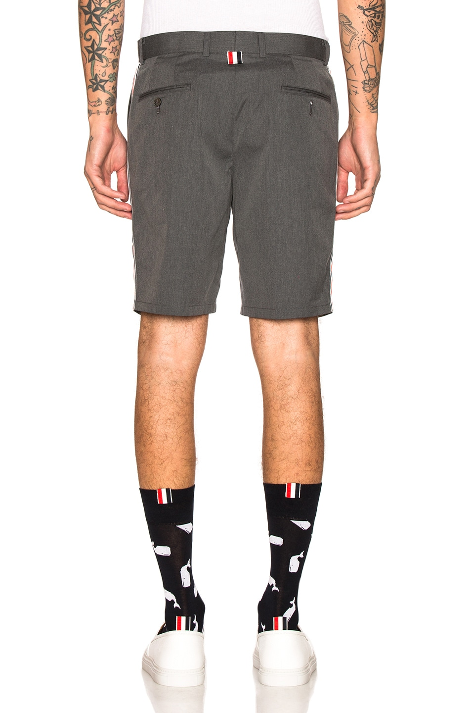 Image 4 of Thom Browne Unconstructed Shorts in Medium Grey