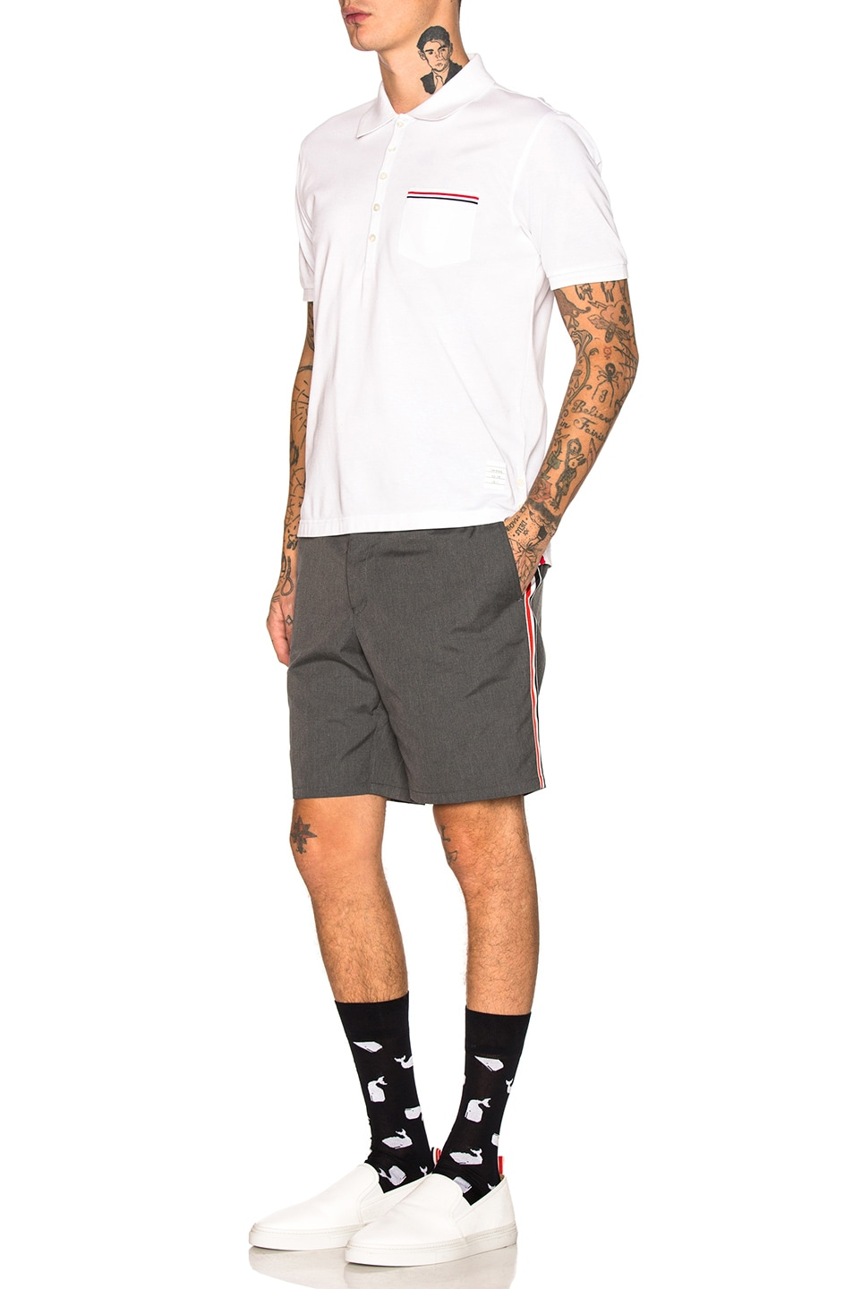 Image 5 of Thom Browne Unconstructed Shorts in Medium Grey