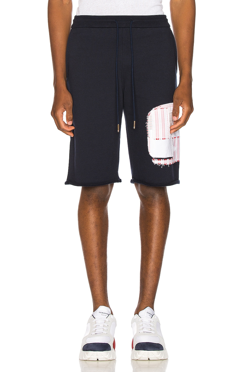 Image 1 of Thom Browne Cut Off Patchwork Sweat Shorts in Navy