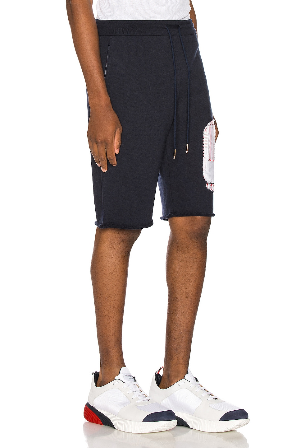 Image 2 of Thom Browne Cut Off Patchwork Sweat Shorts in Navy